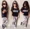 Children's clothing Fashion Kids Baby Girls Outfits T-shirt+Floral Clothes Set GH042A black 90