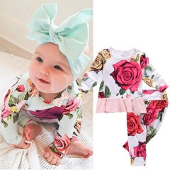 Children's clothing Infant Baby Floral Short Sleeve Tops+Pants Clothing Sets Toddler Flower Outfits GH084A red 100