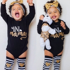 Children's clothing Newborn Baby Girl Romper Tops Headband Leg Warmer 3pcs Outfit Set GH096A black 100