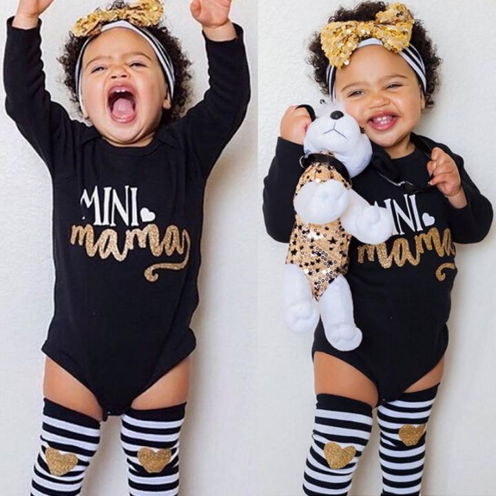 Children's clothing Newborn Baby Girl Romper Tops Headband Leg Warmer 3pcs Outfit Set GH096A black 100
