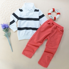 Children's clothing Fashion Kids Girls Outfit T-shirt Top+ Pants Toddler Clothes set GX018A red 90