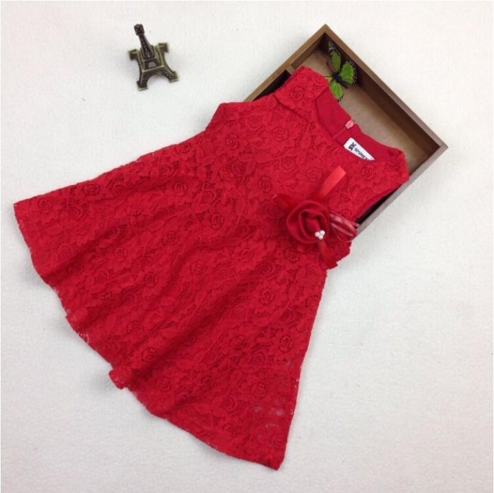 Girl dress Wedding Party Birthday Formal Dresses Kids Clothing GX365D red 100