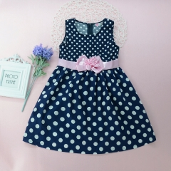 Children's clothing Newest Fashion Kids Girls Thin Party Wedding Polka Dots Flower Gown Fancy Dress GX447AGGG017B royalblue 100