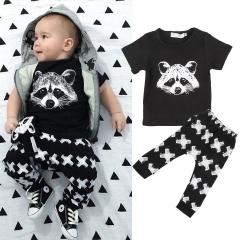 Baby boys clothing set Kid Cool Suit 2PCS Top shirt+pants Toddler Outfit Pajamas GX451A black 70