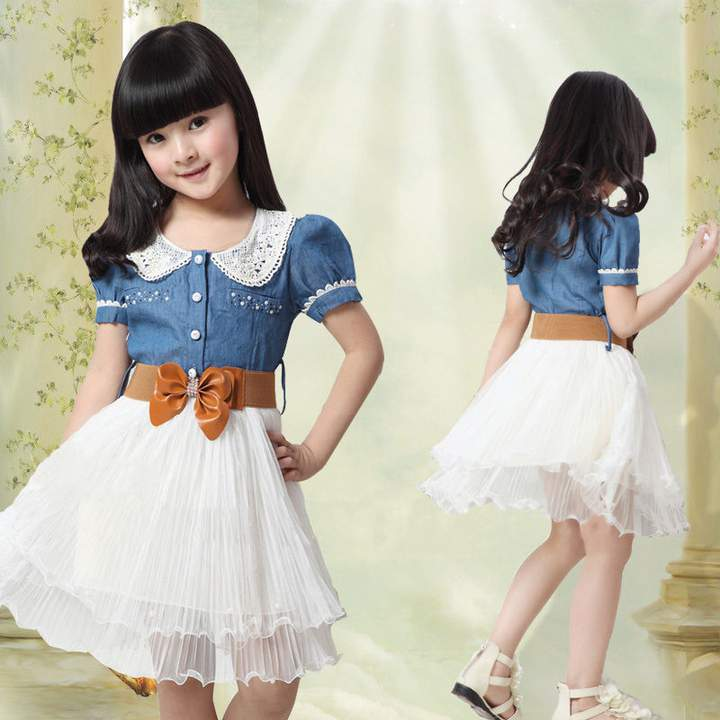 Girls Kids Teenager Princess Denim And Tulle Stitching Tulle Dress GZ021A royalblue 110