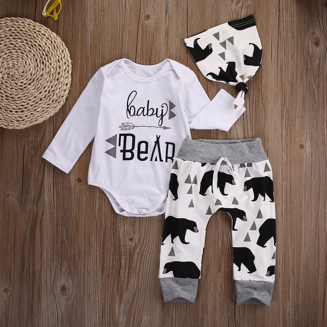 d4298b7ef BABY Boys Girls Clothing Set 3pcs Romper Set+Bear Pants+hat Toddler Outfit  HY003A white 70: Product No: 1565876. Item specifics: Brand: