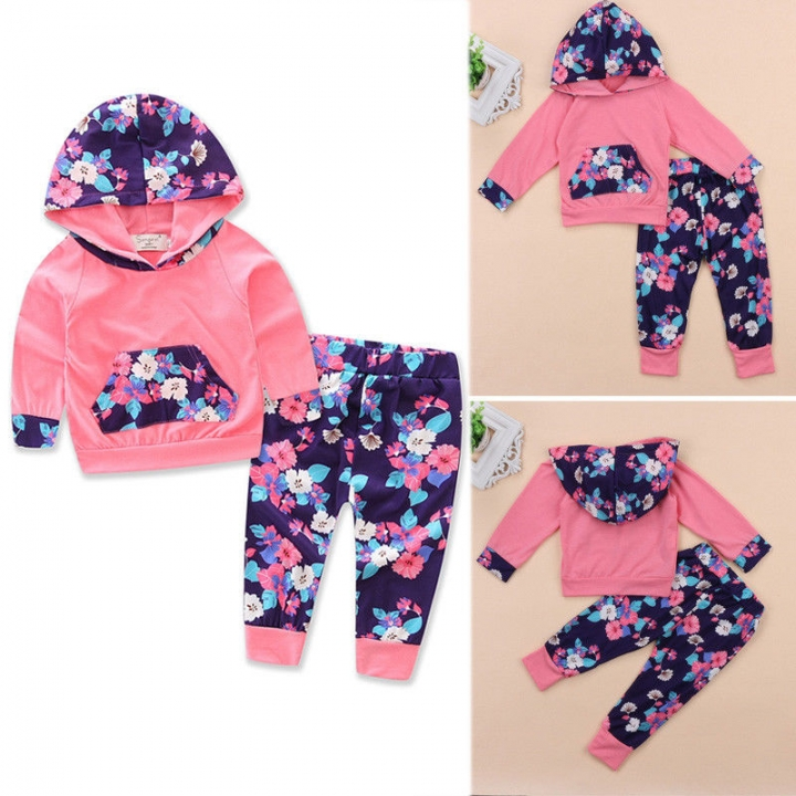 Girls' Daily Floral Print Clothing Set, Cotton Spring All Seasons Long Sleeves Cute Casual WWW052AXB057A pink 70
