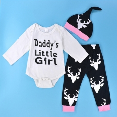Newborn baby Girl clothing set Reindeer Christmas Clothes Toddler Outfit girl Suit XB003AB white 18