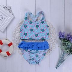 Girls printing Split swimsuit Swimwear Baby Kids Camisole Swimming Clothing Girl Bikini Clothes YY021A light blue 90