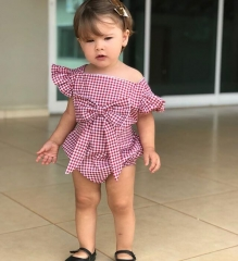 Holiday Newborn Baby Girls Grid Stripe Bowknot Romper Bodysuit Jumpsuit Outfits Clothes 0-24M GG380A pink 70