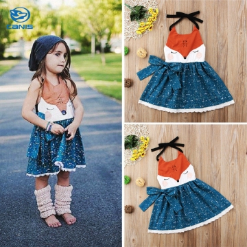 Toddler Girls Floral Print Color Block Sleeveless Dress Royalblue 90