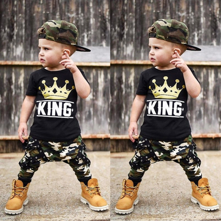 Baby Boy Summer Clothing Set Toddler Black Outfit Shirt+Pants WWW082A black 130