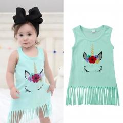 Newborn Baby Girl Casual Dress Green Vest Shirt Kids Fashion GL320A light blue 90