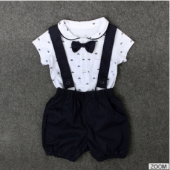 2PC baby newborn rompers +Straps shorts baby kids boys girls clothes summer suit DH031A black 90