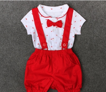 2PC baby newborn rompers +Straps shorts baby kids boys girls clothes summer suit DH031B red 90