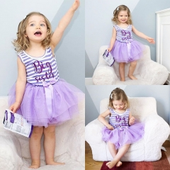 Baby Girl Summer Dress Purple Lace Princess Wedding Dresses Clothing LG078A purple 90
