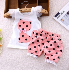 2Pcs Kids Baby Girls Cat Dot Bowknot Lace Short sleeve shirt+Dot shorts Outfits Clothes Set GX534B pink 90