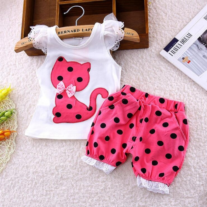 2Pcs Kids Baby Girls Cat Dot Bowknot Lace Short sleeve shirt+Dot shorts Outfits Clothes Set GX534C fuchsia 100