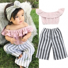 Kids Fashion Girl Clothing Set Pink Striped Toddler Outfit Baby Set HY063A HY063A pink 70