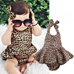 Newborn Toddler Cute Baby Girls Romper Dot Jumpsuit Bodysuit Clothes Outfit Set GGG018A brown 70