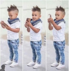 Baby Boys Clothing Set Kids Suit 2PC Short Sleeve Shirt+Jeans boy summer clothes GX209A white 120