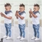 Baby Boys Clothing Set Kids Suit 2PC Short Sleeve Shirt+Jeans boy summer clothes GX209A white 130