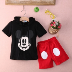Kids Girl Boy Cartoon Hoodie tops+buttom Summer Clothing Sets Fashion GD020B red(BOY) 100