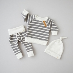 Newborn Baby Girl Boys Clothing Set Striped Toddler Outfit Cotton Infant Clothes GGG039A gray 80