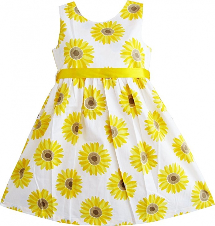 Toddler Kids Girls Sunflower Printing Seeveless One-piece Dress Birthday Party Princess Dress GX436A yellow 120