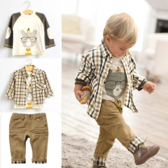3PCS Children's clothing Baby Checked Shirt T-Shirt and Pants Outfit Set GX433A khaki 90
