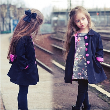 08c50b73990 Girl baby autumn winter dress Korean version of girls' bodywear coat GX431A  royal blue 100