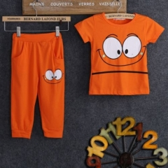 Baby Boy Girl Clothing Set Green Orange Toddler Outfit Kids Clothes Summer Suit GX341A orange 90