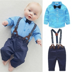 Newborn Baby Boy Gentleman Clothing Set Wedding Birthday Party Clothes Kidwear GH048A blue 70