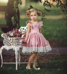 Lovely Toddler Kids Girls Lace Flower Party Princess Solid Pink Color Dress GC282A pink 100