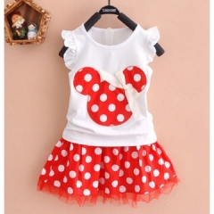 Fashion Cartoon Mouse Princess Birthday Party Outfit Girls Dresses Dot Kids Clothing GL037A red S