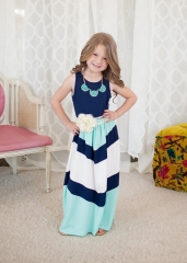 Mother or BABY Girl Dress Stiped Vest Summer Casual Dresses Toddler Kids Girl Clothing GC059A royalblue Kids s-mother