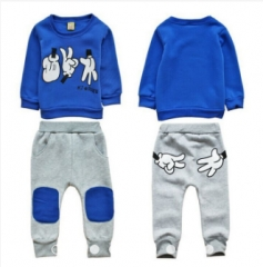 Kids Boys Clothing Set Toddler Tracksuit Tops+Pants Casual Sport outfits royal blue 100