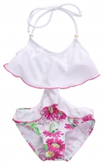 Baby Kids Girls Clothes Floral Swimsuit Suspender Romper Swimwear Girls Bathing Suit YY008A pink 90