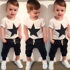 Children's clothing Kids Star Cotton blend T-shirt Tops Harem Pants Outfits Set Clothes GG131A white 110