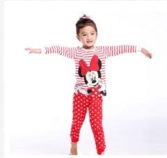 Baby Girl Clothing Set Kids Pajamas Red Striped Clothing Toddler Mini Mouse GG053AB red 90