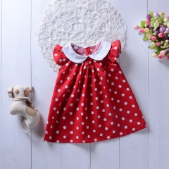 Cute Baby Girls Clothes Pink Dress Dot Flare Sleeve 2 Color Dresses Sleeveless Kid Bebe Clothing GD181B red 90