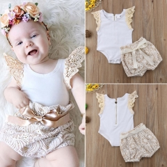 Newborn Baby Fashion Girl Clothing Toddler Outfit Shirt+Shorts Kids GH248A beige 70