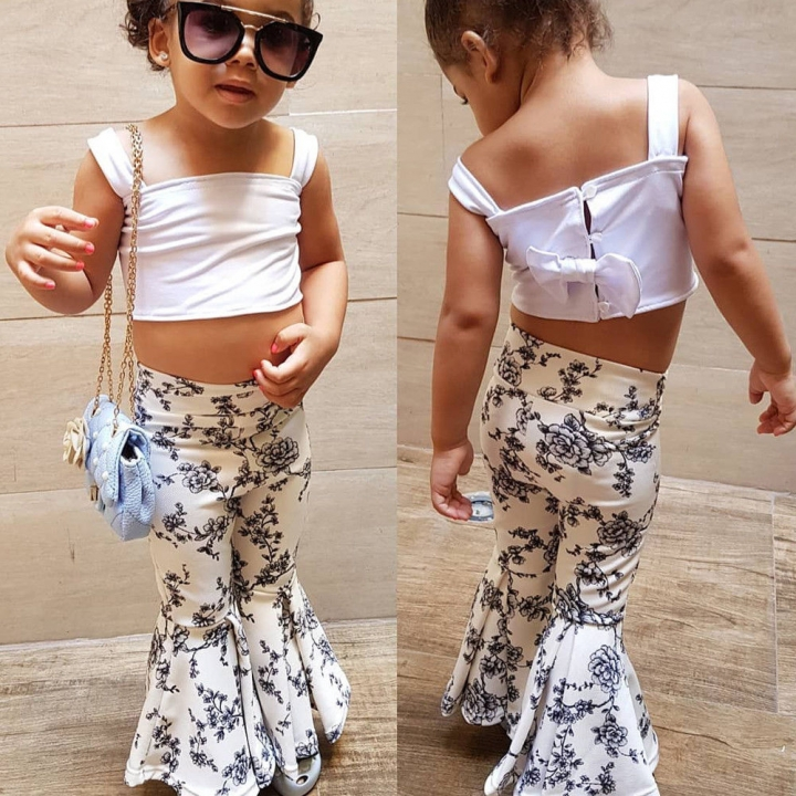 ee1388f1fb851 Baby Girl Clothing Set white off shoulder shirt+flare pants toddler outfit  DH055A white 90