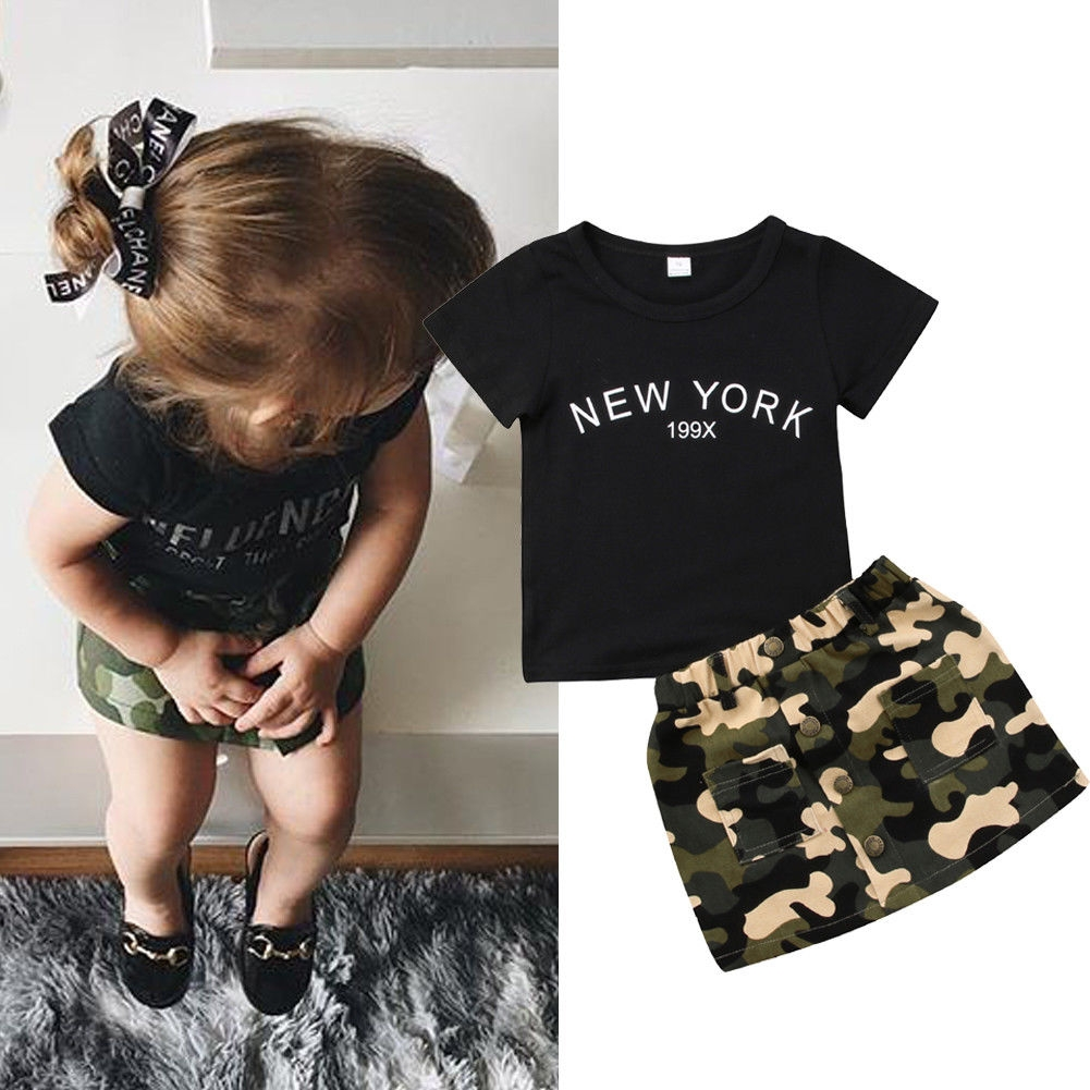 91c43e2e4a6a Baby Girls Clothes Sets Black Tops Tee Camouflage Skirt Kids ...
