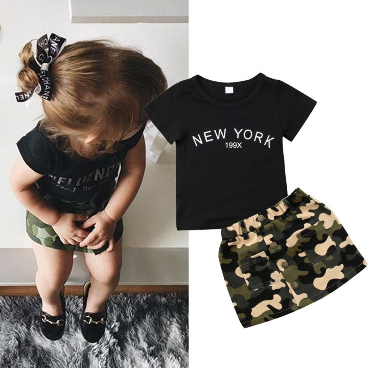 ec9d086e1d7b Baby Girls Clothes Sets Black Tops Tee Camouflage Skirt Kids ...