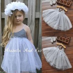 Summer Kids Baby Girls Dress Princess Party Dresses GH347A gray 100