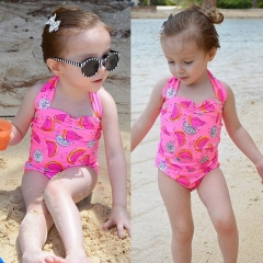 Baby Girls Swim Clothes Watermelon Swimsuit Suspender Vogue Romper Swimwear Summer Bebe Clothing YY038A pink 90