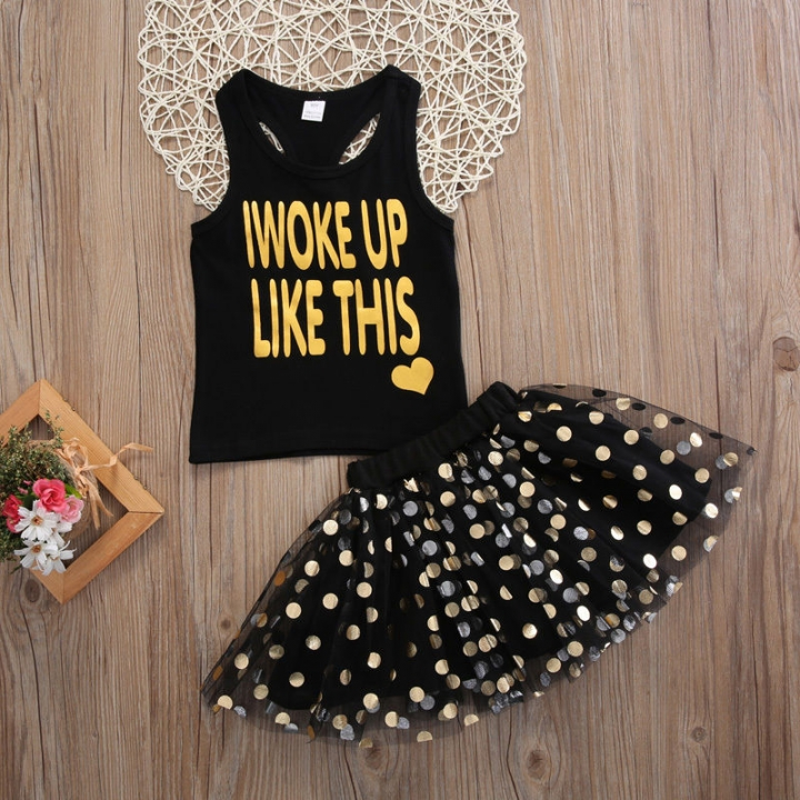 Summer Kids Baby Girls Princess Party Dress Sleeveless Tutu Flower Dresses 1-6T GGG152A black 90