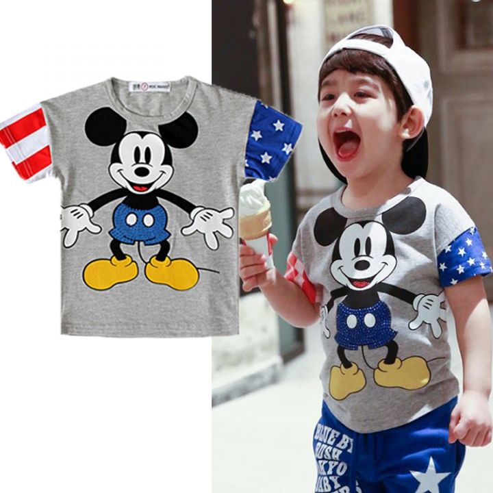 Boys Shirt Newborn Baby Clothing Kids Tops For Boy Toddler Tee-shirt GG097B gray 110 cotton