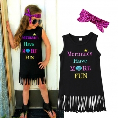 Kids Baby Girls Sleeveless Princess Dress Outfit Tassel Party Sundress Clothes GH286A black 100